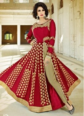 Beige and Red Pant Style Designer Salwar Kameez