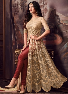 Beige and Red Pant Style Designer Salwar Suit