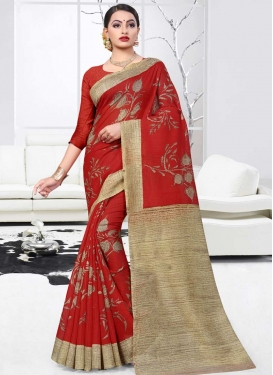 Beige and Red Print Work Contemporary Style Saree