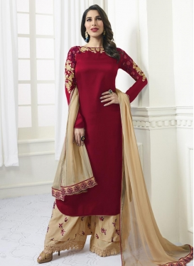 Beige and Red Satin Palazzo Style Pakistani Salwar Suit For Festival