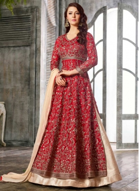 Beige and Red Satin Silk Kameez Style Lehenga