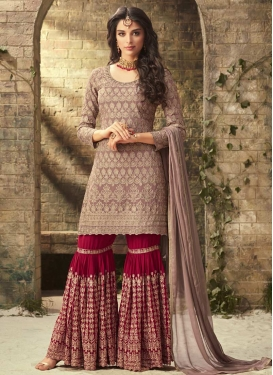Beige and Red Sharara Salwar Kameez