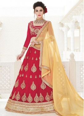 Beige and Red Silk A Line Lehenga Choli For Festival