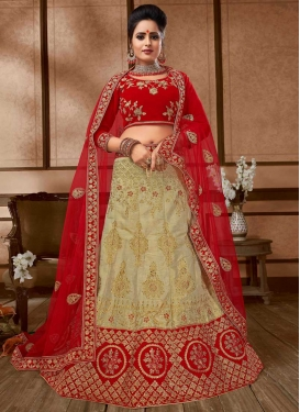 Beige and Red Silk A - Line Lehenga For Festival