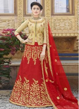 Beige and Red Silk Designer Long Choli Lehenga For Festival