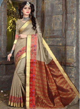 Beige and Red Thread Work Contemporary Style Saree