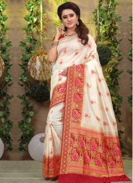 Beige and Red Thread Work Designer Traditional Saree