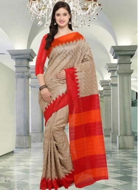 Beige and Red Traditional Saree