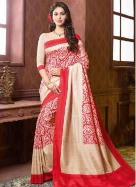 Beige and Red Traditional Saree For Ceremonial