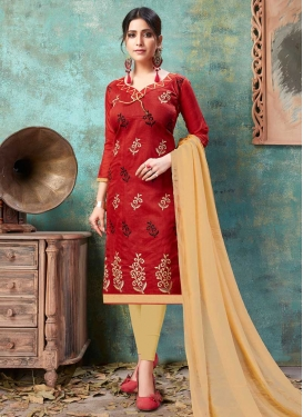 Beige and Red Trendy Churidar Salwar Kameez