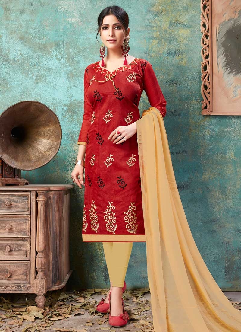 Beige and Red Trendy Churidar Salwar Kameez