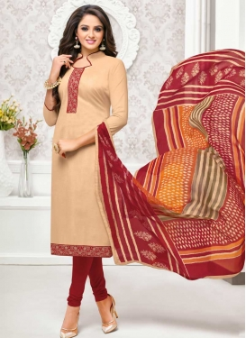 Beige and Red Trendy Churidar Salwar Suit