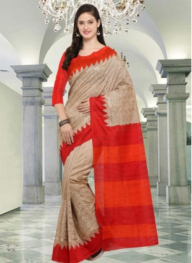 Beige and Red Trendy Classic Saree For Casual
