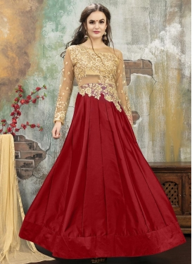 Beige and Red Trendy Designer Lehenga Choli