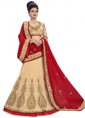 Beige and Red Trendy Layered Lehenga Choli
