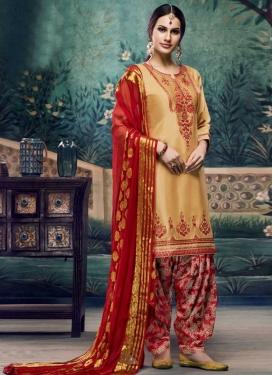 Beige and Red Trendy Patiala Salwar Kameez
