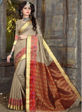 Beige and Red Trendy Saree