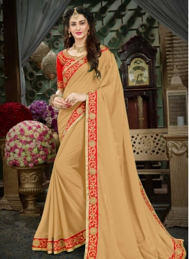 Beige and Red Trendy Saree For Ceremonial