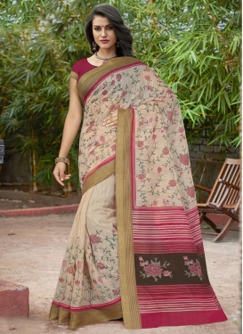 Beige and Rose Pink Art Silk Trendy Saree