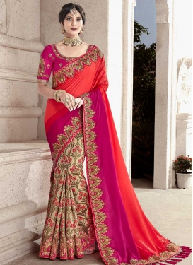 Beige and Rose Pink Beads Work Half N Half Trendy Saree