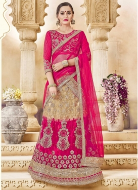 Beige and Rose Pink Booti Work Designer Classic Lehenga Choli