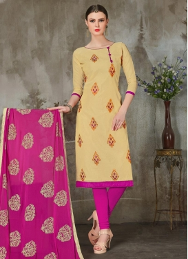 Beige and Rose Pink Booti Work Trendy Churidar Salwar Suit
