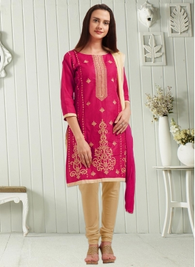 Beige and Rose Pink Churidar Punjabi Salwar Suit