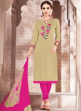 Beige and Rose Pink Churidar Salwar Kameez