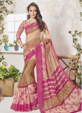 Beige and Rose Pink Contemporary Style Saree For Casual