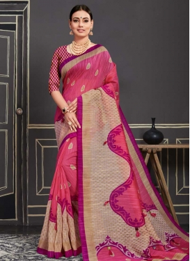 Beige and Rose Pink Cotton Silk Designer Contemporary Saree