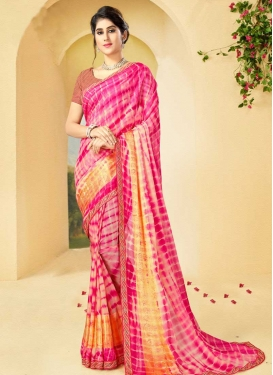 Beige and Rose Pink Digital Print Work Contemporary Style Saree