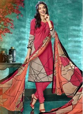 Beige and Rose Pink Digital Print Work Trendy Churidar Salwar Kameez