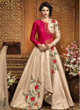 Beige and Rose Pink Embroidered Work Layered Designer Salwar Suit