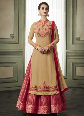 Beige and Rose Pink Embroidered Work Readymade Designer Gown