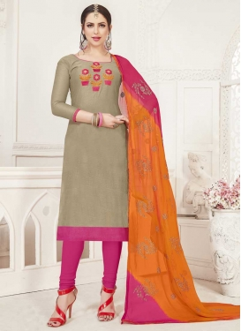 Beige and Rose Pink Embroidered Work Trendy Churidar Suit