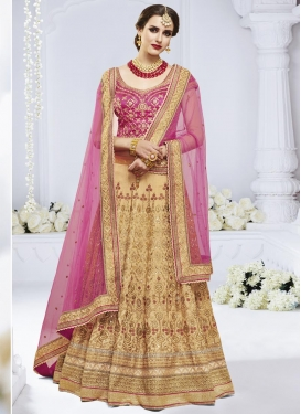 Beige and Rose Pink Embroidered Work Trendy Lehenga Choli