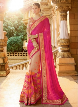 Beige and Rose Pink Fancy Fabric Half N Half Trendy Saree
