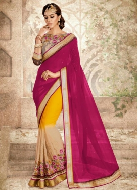 Beige and Rose Pink Faux Georgette Half N Half Trendy Saree