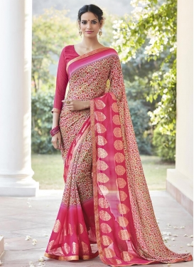 Beige and Rose Pink Faux Georgette Trendy Classic Saree