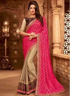 Beige and Rose Pink Half N Half Trendy Saree