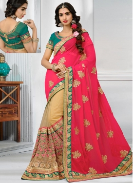 Beige and Rose Pink Half N Half Trendy Saree For Bridal