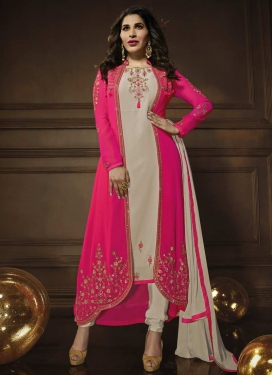 Beige and Rose Pink Jacket Style Salwar Suit For Festival