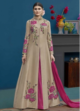 Beige and Rose Pink Kameez Style Lehenga Choli For Festival