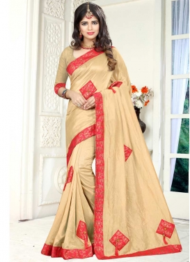 Beige and Rose Pink Lace Work Contemporary Style Saree