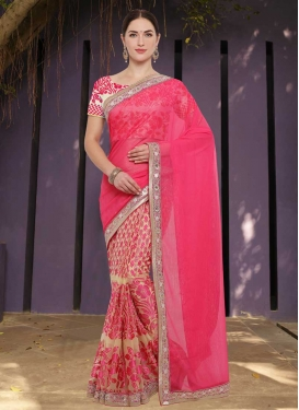 Beige and Rose Pink Lace Work Half N Half Trendy Saree