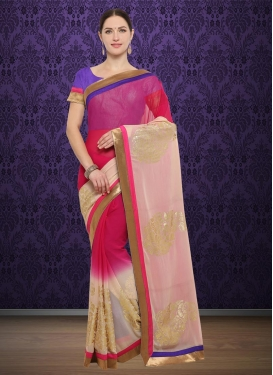 Beige and Rose Pink Lace Work Trendy Classic Saree
