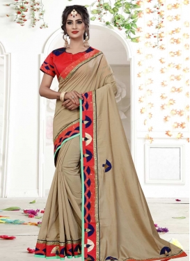 Beige and Rose Pink Lace Work Trendy Saree