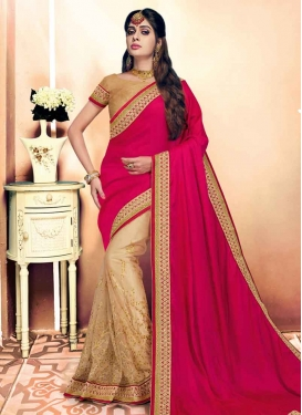 Beige and Rose Pink Net Half N Half Trendy Saree