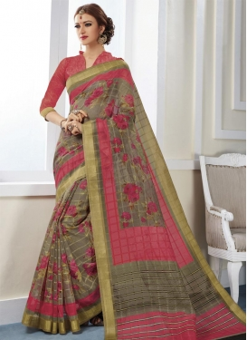 Beige and Rose Pink Print Work Classic Saree