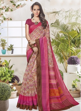 Beige and Rose Pink Print Work Traditional Saree